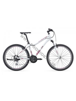 AluxX-grade aluminium frame     SR Suntour M3030 fork with lockout     Shimano Tourney/Acera 24-speed drivetrain     Alloy linear pull brakes     Giant GX02 double-wall aluminium rims     Color: pearl white, black/purple